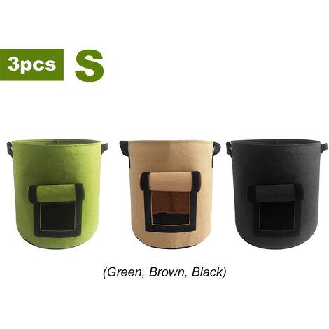 3 Stuck nicht gewebter Pflanzenanbaubeutel (grun, schwarz, braun) klein