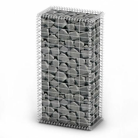 Gabion Basket with Lids Galvanised Wire 100 x 50 x 30 cm