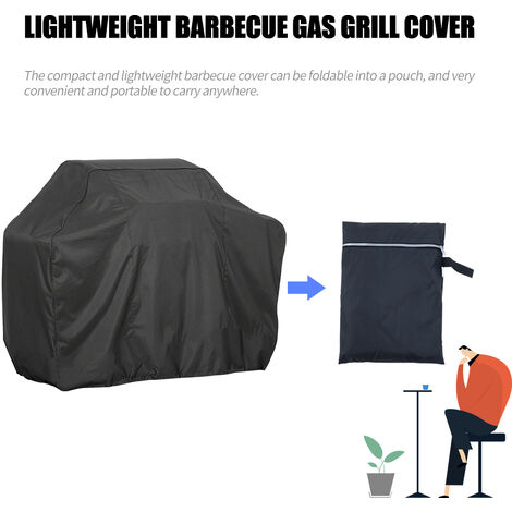 BBQ Grill Cover Barbecue Gas Grill Cover 210D Waterproof Heavy Duty Rip Resistant Dust-Proof Charcoal Electric Grill Cover, L