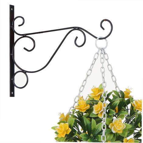 Plant Hanging Hooks Decorative Iron Wall Hooks Plant Hanging Hangers, Black, Large