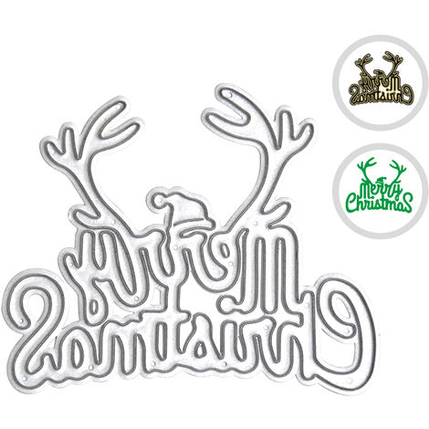 Metal Cutting Dies Merry Christmas Letters Xmas Tree Shape Cutting Die for DIY Scrapbooking Card Photo Album Embossing Paper Cards