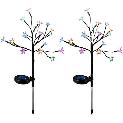 LED Solar Powered Lights Christmas Halloween Decorative Stake Lights Colorful Fairy Flower Tree Lamp