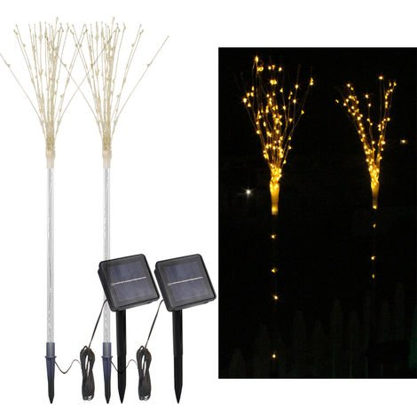 2 Pack Solar Fireworks Tree Lights With Light Sensor 100-LEDs DIY Shape Warm White Garden Decorative Lawn Light Pathway Lamp