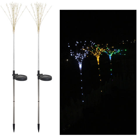 2 Pack Solar Fireworks Tree Lights With Light Sensor 100-LEDs DIY Shape Multi Color Garden Decorative Lawn Light Pathway Lamp