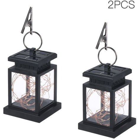 2pcs Solar Powered Lantern Lamp with Clip Warm White 30 LEDs Copper Wire IP44 Water-resistant Outdoor Hanging Lamp Warm white