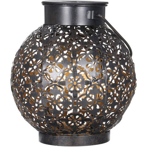 Tomshine Outdoor Solar Lantern Light Hollowed-out Design Decorative Metal Hanging LED Lights Sensitive Lighting Control Lamp