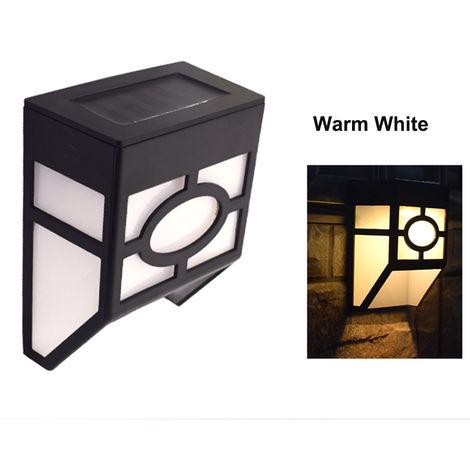 Solar Powered Wall Lamp Water-resistant Solar Light 2 LEDs Outdoor Lighting for Walkway Yard Garden Courtyard