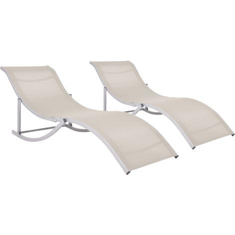 Folding Sun Loungers 2 pcs Cream Textilene