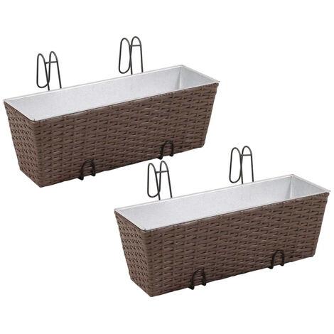 Balcony Trapezoid Rattan Planter Set 50 cm 2 pcs Brown