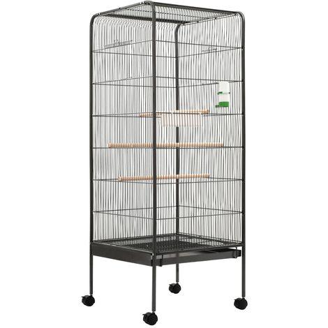 Bird Cage Grey 54x54x146 cm Steel