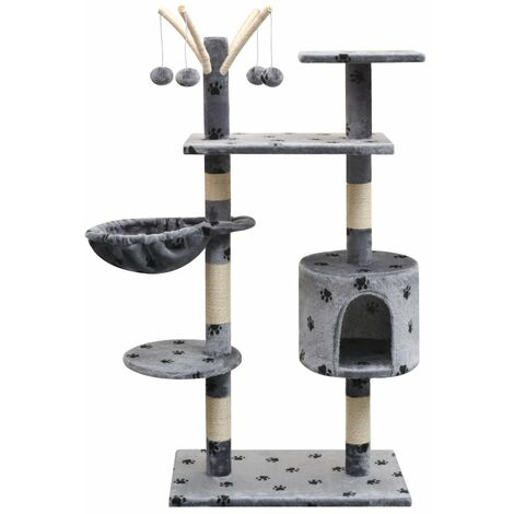 Cat Tree with Sisal Scratching Posts 125 cm Paw Prints Grey
