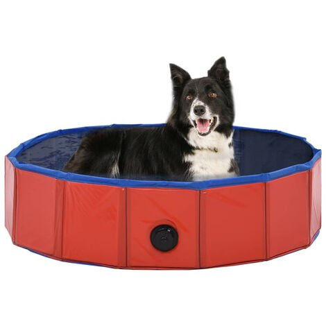 Foldable Dog Swimming Pool Red 80x20 cm PVC