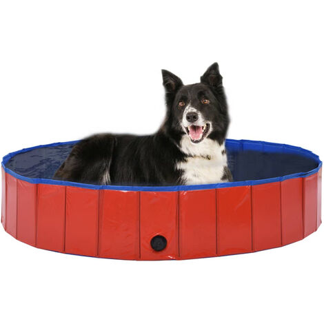 Foldable Dog Swimming Pool Red 160x30 cm PVC