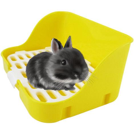 Animal Litter Potty Trainer Cage Toilet Corner Litter Bedding Box Square Pet Pan, Yellow
