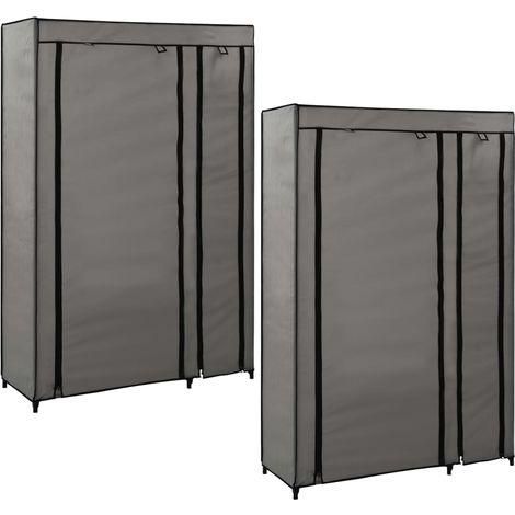 Folding Wardrobes 2 pcs Grey 110x45x175 cm Fabric