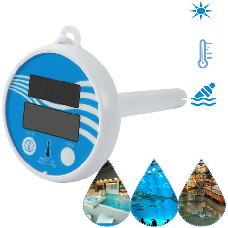 Solar Powered Digital Thermometer Wireless Pond Pool Floating LCD Display Swimming Pool Thermometer