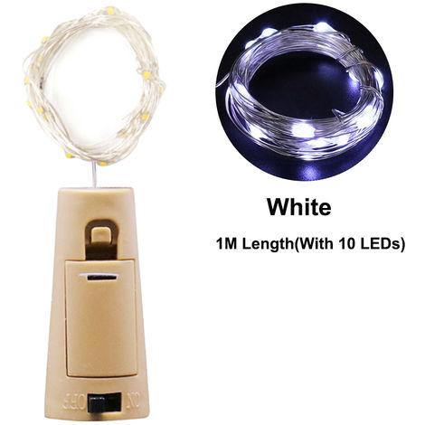 1 Meter 10 LEDs Copper Wire Fairy Light Wine Bottle Cork Shaped String Lights Bottle Stopper Atmosphere Lamp, White