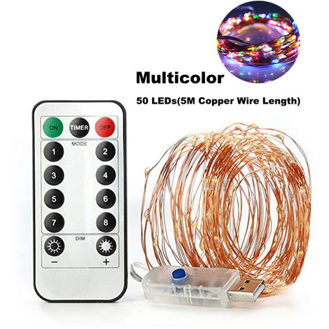 Fairy String Lights USB Copper Wire Lamp Christmas Lights 8 Lighting Modes with Remote Control, Multicolor, 5M Length
