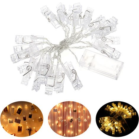 Batterys Powered 20leds Warm White Fairy String Lights 2.2M with Photo Clips for Hanging Pictures Cards in Bedroom