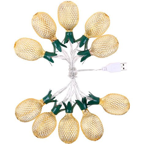 Decorative Light String with Cute Appearance USB 10LEDs Fairy Lamp for Bedroom Party Pineapple shape