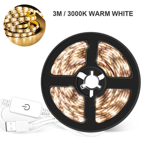 USB Dimmable LEDs Strips Light Touching Control Rope Light, Warm white, 3m 180LEDs