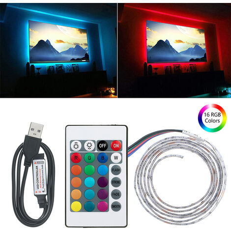 RGB Strip Light with Remote Control USB Powered Operated Brightness Adjustable 16 Colors Multi-colored IP67 Water Resistance, DC5V 6W 1M 60 LEDs