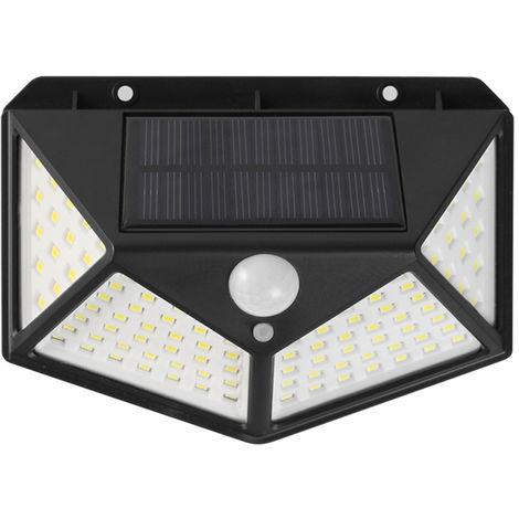 Solar Wall Light Motion Sensor Light Human Body Induction Lamp Outdoor Lighting IP65 Water-resistant, Black , White Light & 1Pcs