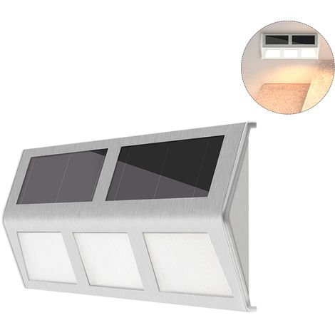 Solar Powered Stair Lights Wall Lamp Solar Step Light Water-resistant Outdoor Lighting Walkway Light, Warm white , 6LED