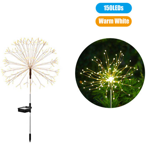 Solar Powered Energy Firework Design Fairy String Light Lawn Lamp with 8 Different Lighting Modes Effects Memory Function, Warm white , 150 LEDs
