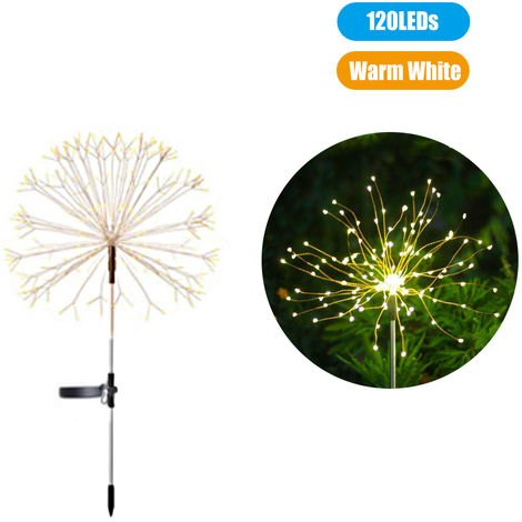 Solar Powered Energy Firework Design Fairy String Light Lawn Lamp with 2 Different Lighting Modes Effects Built-in 600mAh, Warm white , 120LEDs