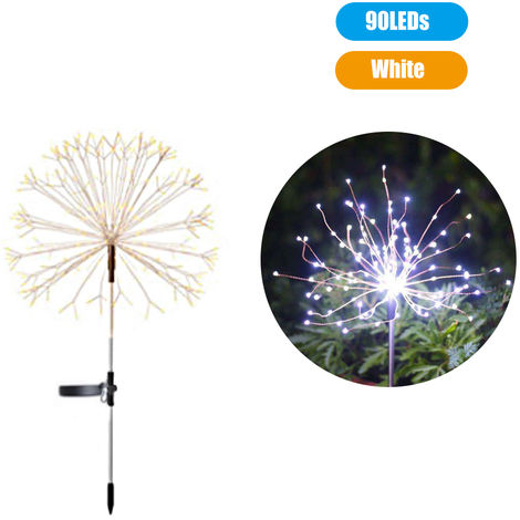 Solar Powered Energy Firework Design Fairy String Light Lawn Lamp with 2 Different Lighting Modes Effects Built-in 600mAh, White , 90LEDs