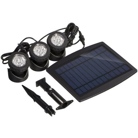 Solar Powered Super Bright 3 Submersible Lamps 18 LEDs - Projector Light Outdoor Lighting, Warm white