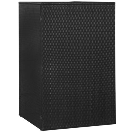 Single Wheelie Bin Shed Black 76x78x120 cm Poly Rattan