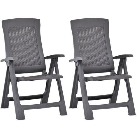 Garden Reclining Chairs 2 pcs Plastic Mocca