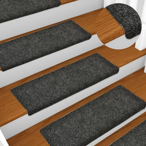 Stair Mats 15 pcs Needle Punch 65x25 cm Grey