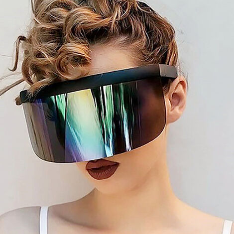 Half Face Mask Sun Protection Goggles Large Mirror Sun Glasses, Colorful yellow with black frame