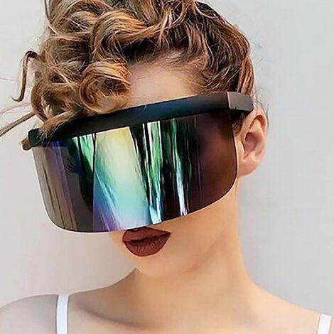 Half Face Mask Sun Protection Goggles Large Mirror Sun Glasses, Pink frame transparent color