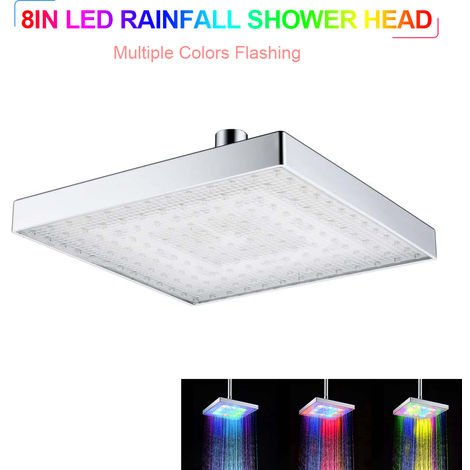 LED Rainfall Shower Head Square Shower Head Automatically Color-Changing Showerhead, Silver , Multiple Colors LED