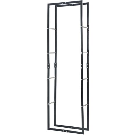 Firewood Rack Black 60x25x200 cm Steel