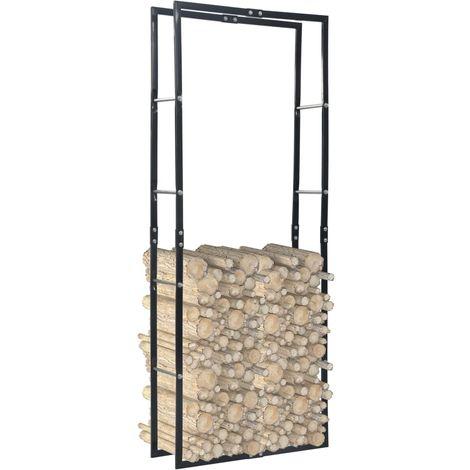 Firewood Rack Black 80x25x200 cm Steel