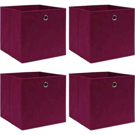 Storage Boxe4 pcDark Red 32x32x32 cm Fabric