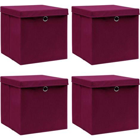 Storage Boxewith Lid4 pcDark Red 32x32x32 cm Fabric