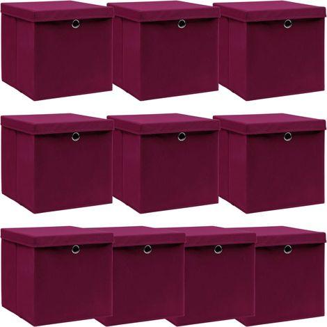 Storage Boxewith Lid10 pcDark Red 32x32x32 cm Fabric