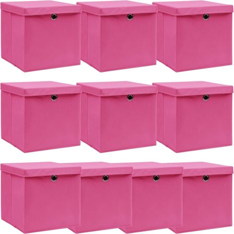 Storage Boxewith Lid10 pcPink 32x32x32 cm Fabric