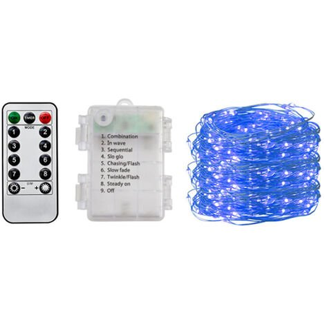 Outdoor Christmas Led Fairy String Lights with Battety-Box & Remote Control, Blue,10m