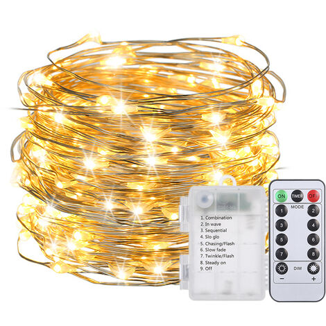 10M/ 32.8Ft 100LED Fairy String Light with Remote Control 8 Different Lighting Effects Brightness Adjustable Warm White