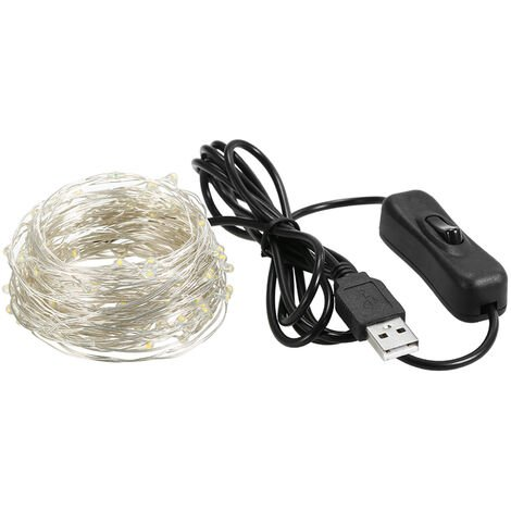 String Lights USB IP65 Waterproof Warm White for Xmas,Wedding,Indoor/Outdoor-Silver Wire, 10m