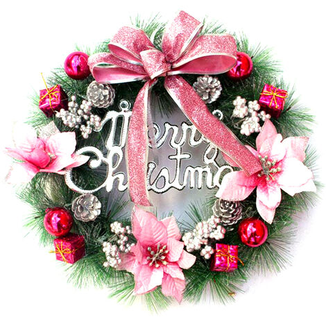 Christmas Wreath with Led String Light Garland Merry Christmas Front Door Wreath Artificial Plants, Pink
