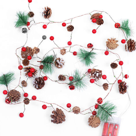 Christmas decoration red pine warm white light 2.2 meters 20 lights LED copper wire string light 0369 (without battery)