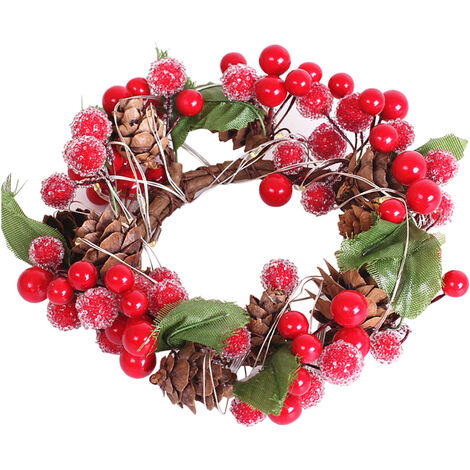 Christmas decoration red pine cone LED garland light string 02369 (without battery)
